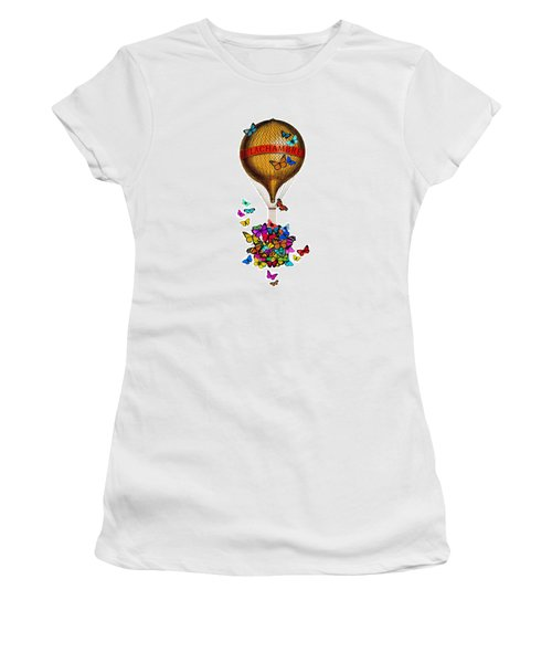 French Hot Air Balloon With Rainbow Butterflies Basket Women's T-Shirt