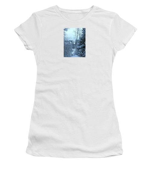 Women's T-Shirt (Athletic Fit) featuring the photograph Fresh Snow by Greta Larson Photography