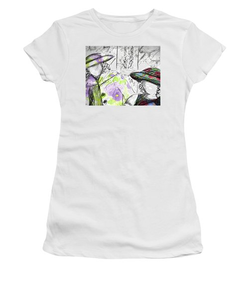 Women's T-Shirt (Junior Cut) featuring the painting Friends And Flowers by Cathie Richardson