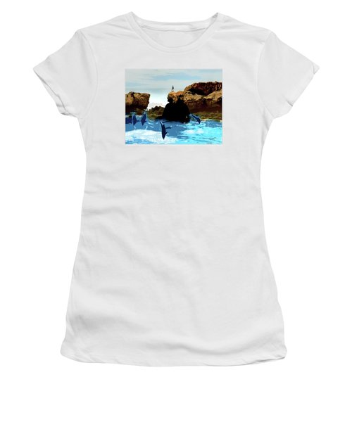 Friends With Dolphins In Colour Women's T-Shirt
