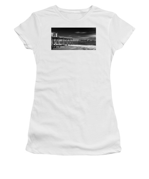 Women's T-Shirt featuring the photograph Frisco Fishing Pier In Black And White Panorama by Ranjay Mitra