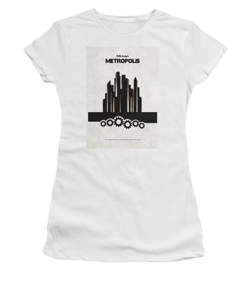 Women's T-Shirt (Athletic Fit) featuring the painting Fritz Lang's Metropolis Alternative Minimalist Movie Poster by Inspirowl Design