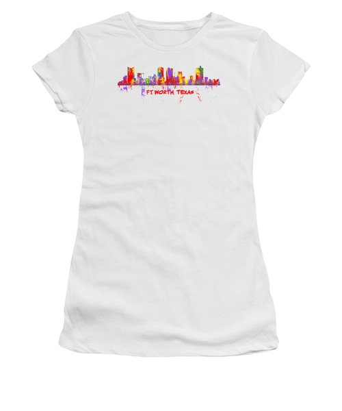 Ft Worth Tx Skyline Tshirts And Accessories Art Women's T-Shirt (Junior Cut) by Loretta Luglio