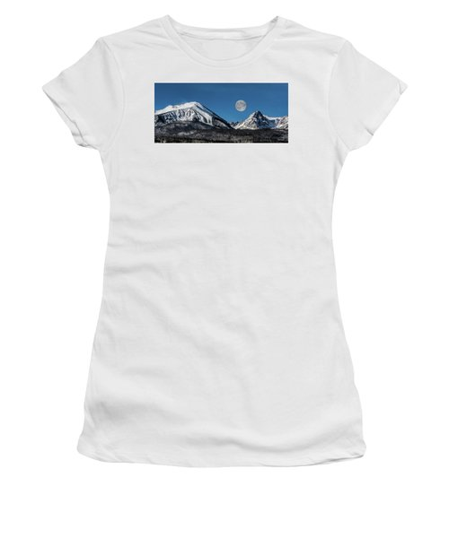 Full Moon Over Silverthorne Mountain Women's T-Shirt (Athletic Fit)