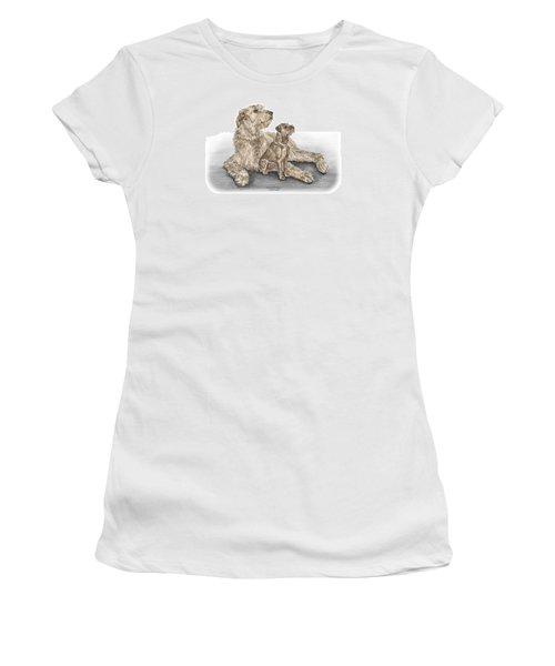 Full Of Promise - Irish Wolfhound Dog Print Color Tinted Women's T-Shirt (Junior Cut) by Kelli Swan