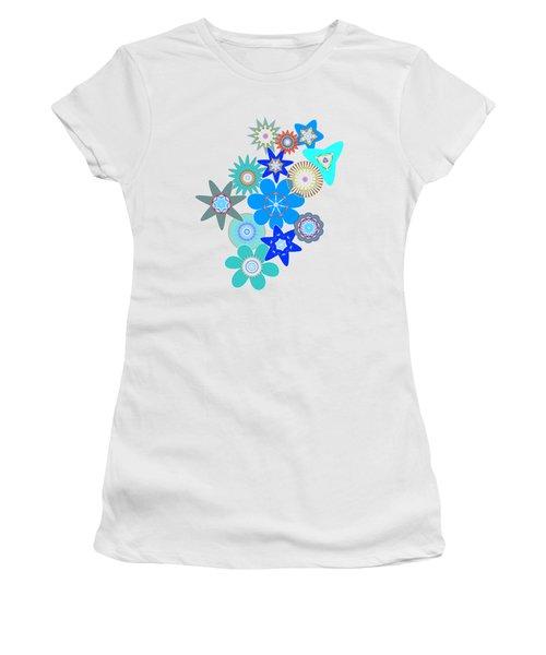 Funky Flower Pattern Women's T-Shirt (Junior Cut) by Methune Hively