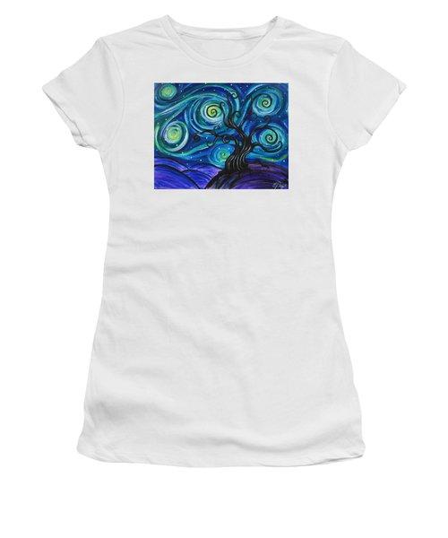Funky Tree, Starry Night Women's T-Shirt