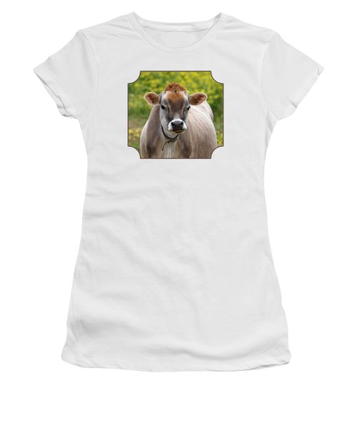 Funny Jersey Cow -square Women's T-Shirt (Junior Cut) by Gill Billington