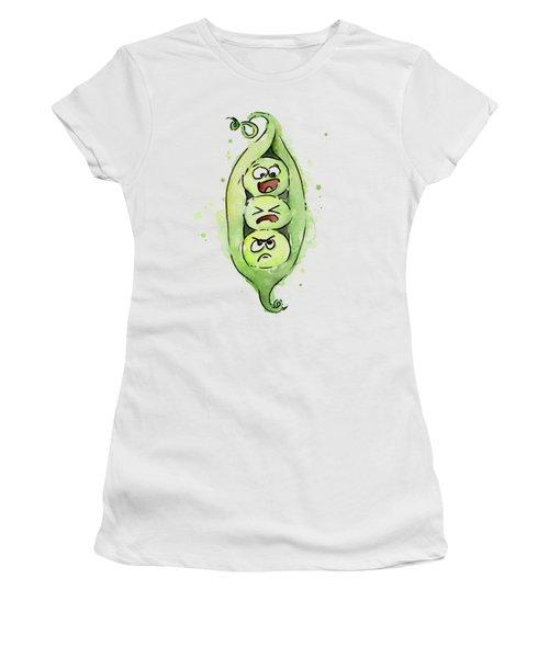 Funny Peas In A Pod Women's T-Shirt (Junior Cut) by Olga Shvartsur