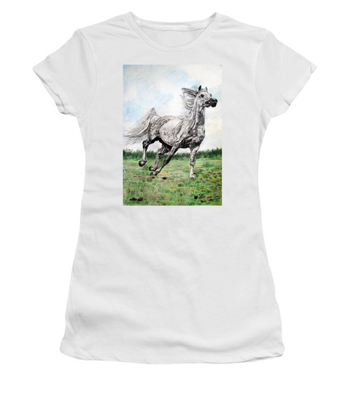 Galloping Arab Horse Women's T-Shirt (Athletic Fit)