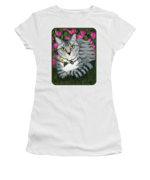 Women's T-Shirt (Athletic Fit) featuring the painting Garden Cat - Silver Tabby Cat Azaleas by Carrie Hawks