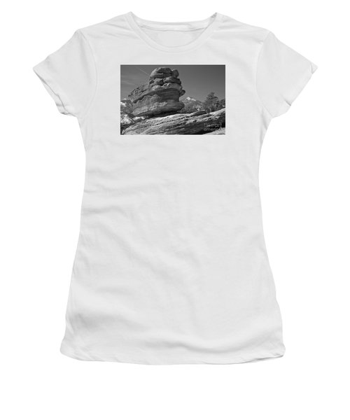 Women's T-Shirt (Junior Cut) featuring the photograph Garden Of The Gods Balanced Rock Black And White by Adam Jewell