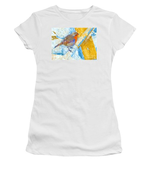 Garden Robin Women's T-Shirt (Junior Cut) by LemonArt Photography