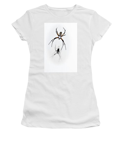 Women's T-Shirt (Junior Cut) featuring the photograph Garden Spider With Shadow by Tamyra Ayles