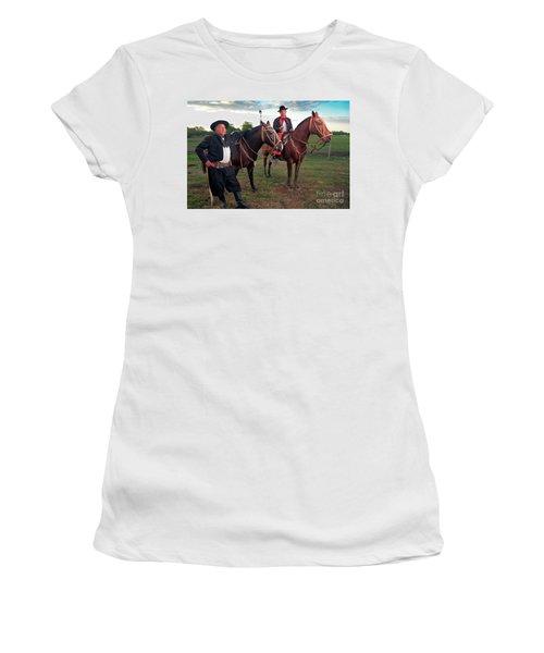 Women's T-Shirt (Junior Cut) featuring the photograph Gauchos by Bernardo Galmarini