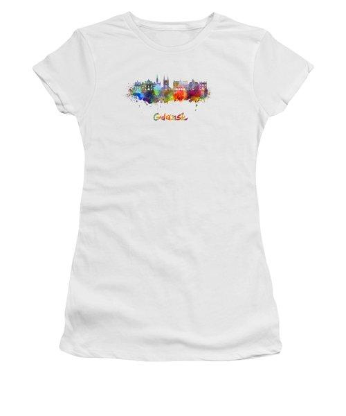 Gdansk Skyline In Watercolor Women's T-Shirt