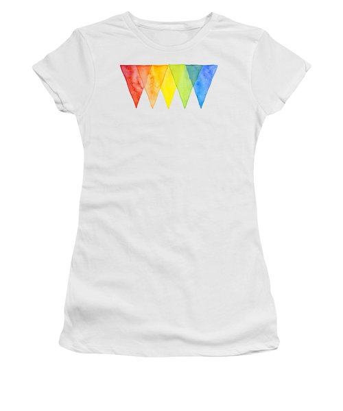 Geometric Watercolor Pattern Rainbow Triangles Women's T-Shirt (Athletic Fit)