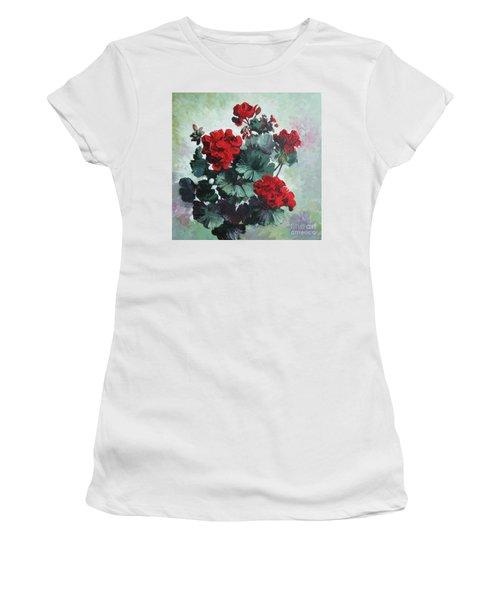Women's T-Shirt (Junior Cut) featuring the painting Geranium by Elena Oleniuc