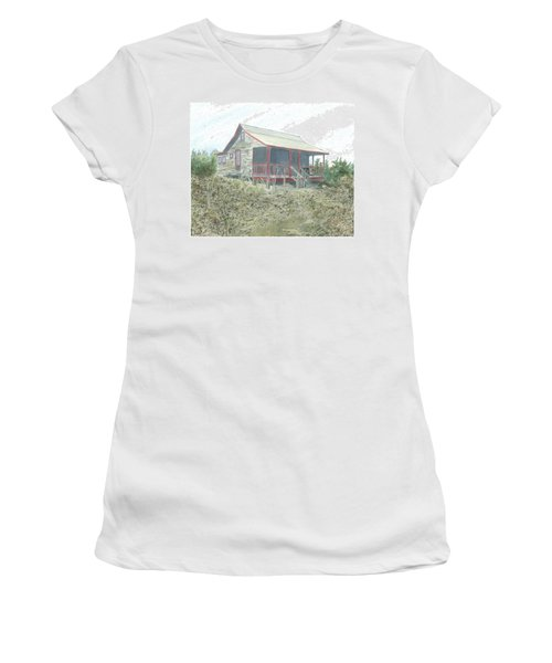 Women's T-Shirt (Junior Cut) featuring the painting Get Away Cottage by Joel Deutsch