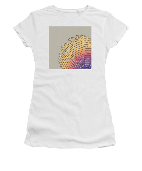 Giant Iridescent Fingerprint On Beige Women's T-Shirt (Athletic Fit)