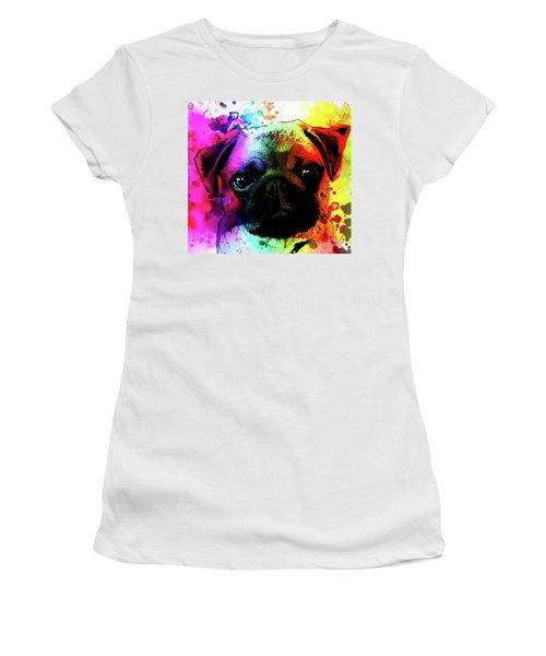 Giant Pug Watercolor Print  Women's T-Shirt