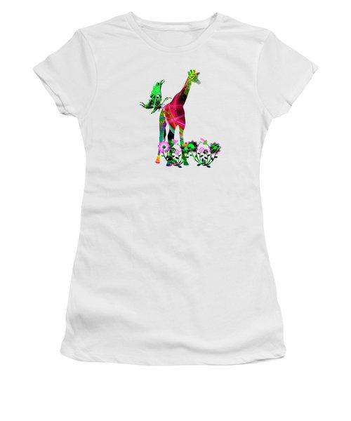 Giraffe And Flowers3 Women's T-Shirt (Junior Cut) by EricaMaxine  Price
