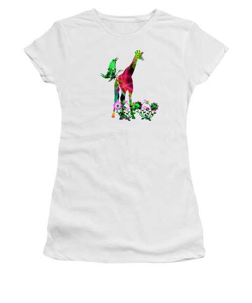 Giraffe And Flowers3 Women's T-Shirt (Athletic Fit)