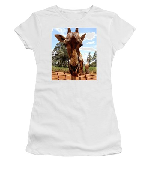 Giraffe Getting Personal 6 Women's T-Shirt (Athletic Fit)