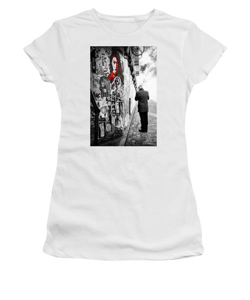 Women's T-Shirt (Junior Cut) featuring the photograph Girl In Red by Anthony Citro