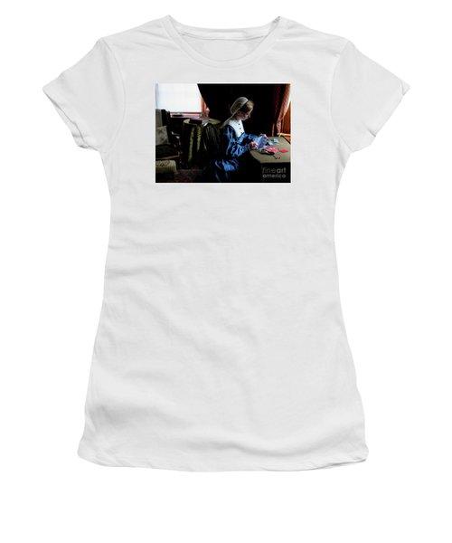 Girl Sewing Women's T-Shirt (Junior Cut) by M G Whittingham