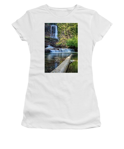 Glacier National Park Waterfall 3 Women's T-Shirt (Junior Cut) by Andres Leon