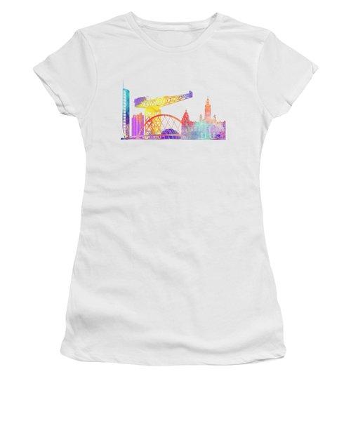 Glasgow Landmarks Watercolor Poster Women's T-Shirt