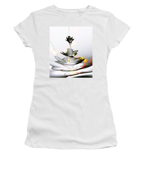 Women's T-Shirt (Athletic Fit) featuring the mixed media Glass Flower by Anastasiya Malakhova