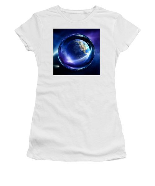 Women's T-Shirt (Athletic Fit) featuring the digital art Glass Marble Art Moon by Sheila Mcdonald
