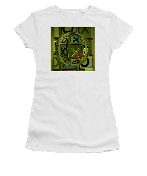Women's T-Shirt (Athletic Fit) featuring the painting Glass Marble Tic Tac Toe Art by Sheila Mcdonald