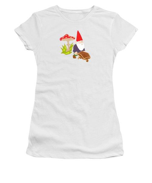 Gnome Garden Women's T-Shirt (Junior Cut) by Priscilla Wolfe