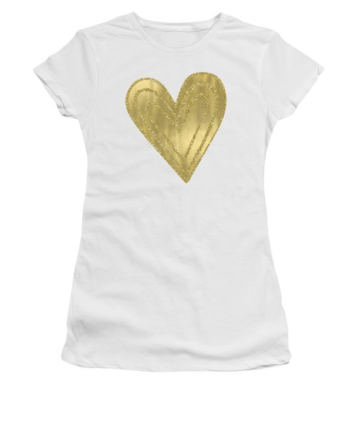 Gold Glam Heart Women's T-Shirt (Athletic Fit)