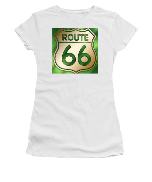 Gold Route 66 Sign Women's T-Shirt (Athletic Fit)