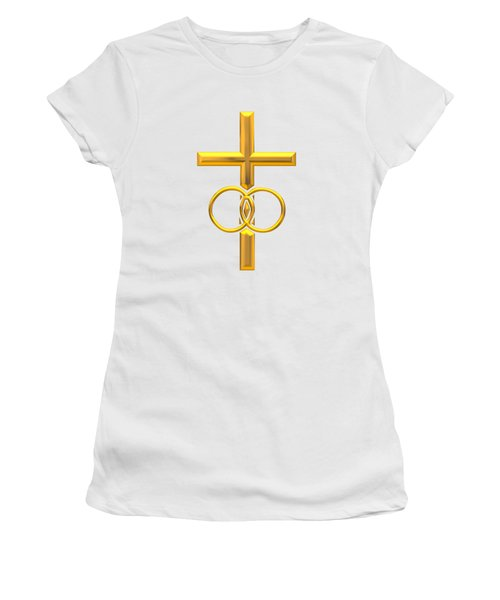 Women's T-Shirt featuring the digital art Golden 3d Look Cross With Wedding Rings by Rose Santuci-Sofranko