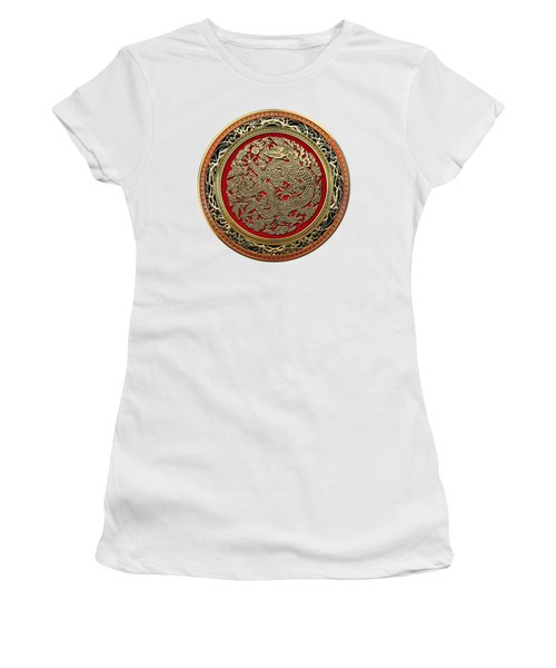 Golden Chinese Dragon White Leather  Women's T-Shirt (Junior Cut) by Serge Averbukh
