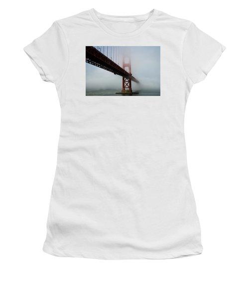 Women's T-Shirt featuring the photograph Golden Gate Bridge Fog 2 by Stephen Holst