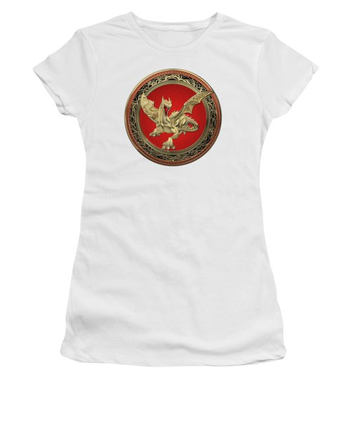 Golden Guardian Dragon Over White Leather Women's T-Shirt (Athletic Fit)