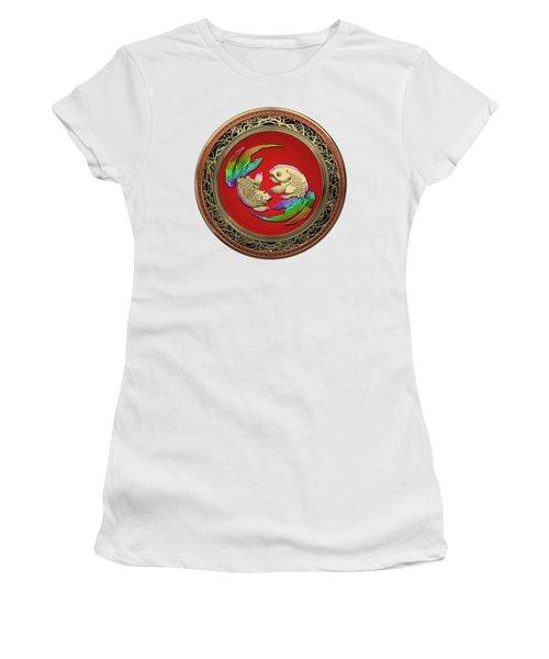 Golden Japanese Koi Goldfish Over White Leather Women's T-Shirt (Athletic Fit)