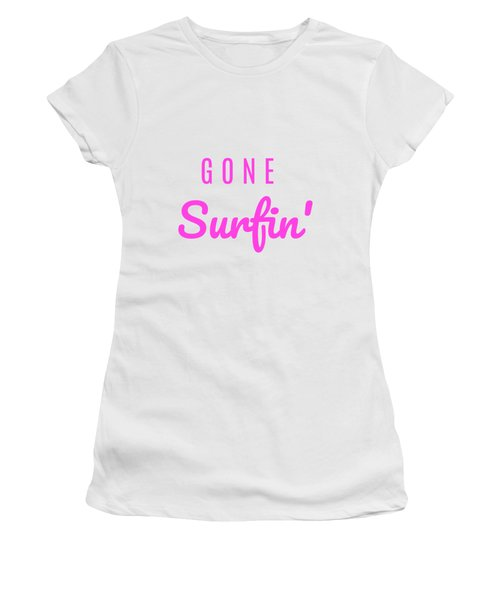 Gone Surfin' Pink Women's T-Shirt (Athletic Fit)