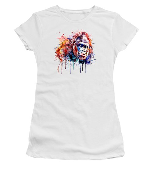 Women's T-Shirt (Junior Cut) featuring the mixed media Gorilla by Marian Voicu