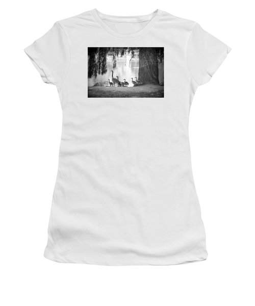 Women's T-Shirt (Junior Cut) featuring the photograph Goslings Bw7 by Clarice Lakota