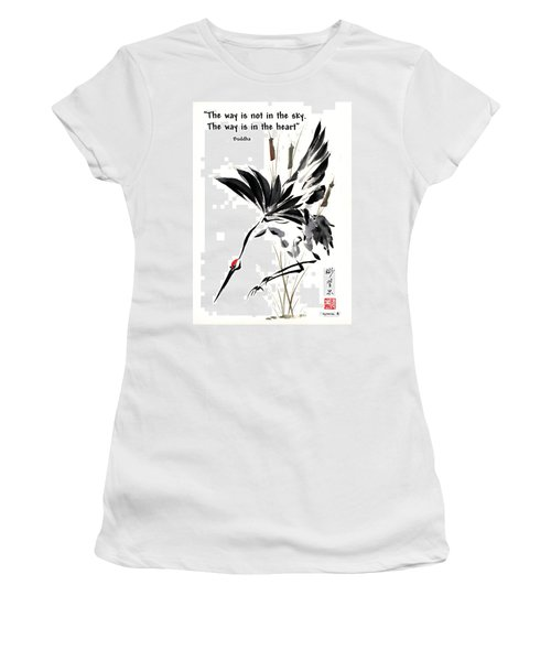 Women's T-Shirt (Junior Cut) featuring the painting Grace Of Descent With Buddha Quote I by Bill Searle