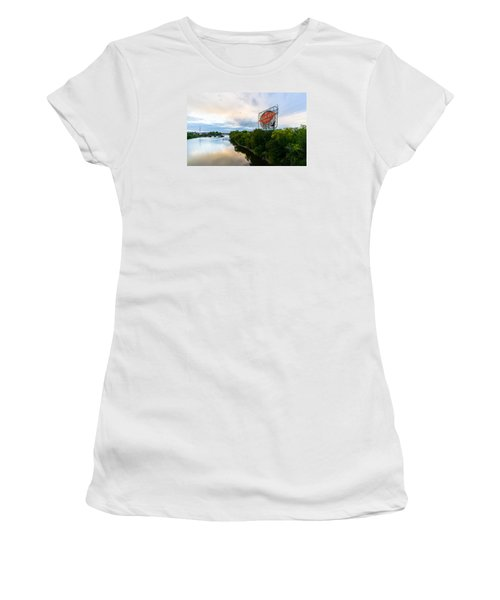 Women's T-Shirt featuring the photograph Grain Belt Beer Sign On River by Mike Evangelist
