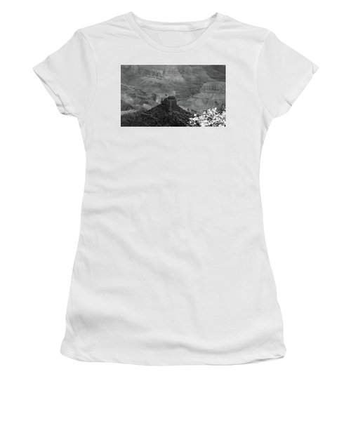 Women's T-Shirt (Junior Cut) featuring the photograph Grand Canyon 4 In Black And White by Debby Pueschel