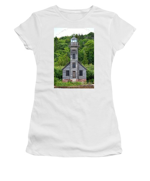 Women's T-Shirt (Junior Cut) featuring the photograph Grand Island East Channel Lighthouse #6672 by Mark J Seefeldt